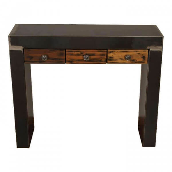 console acier sequoia avec tiroir en bois et metal brut massif. Black Bedroom Furniture Sets. Home Design Ideas