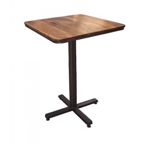 Table haute en bois et acier for Table haute en solde