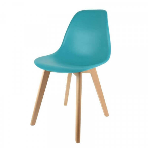 Chaise repas Pop bleu canard