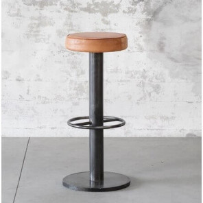 STEEL - Industrial steel and leather bar stool