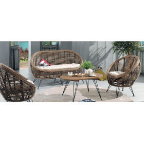 Ball rattan lounge set