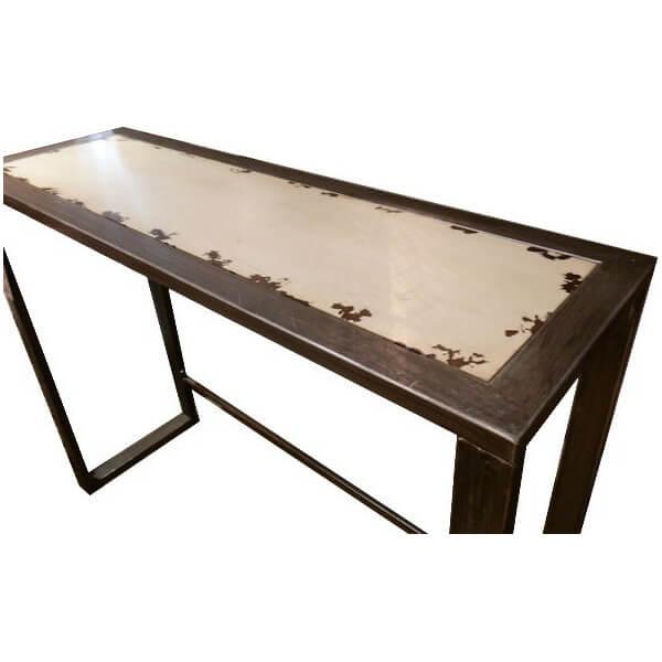 Console métal acier et bois Ivoire 618