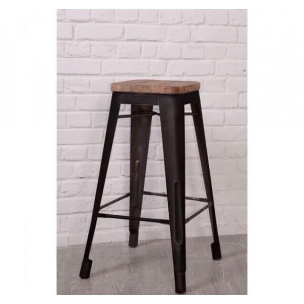 tabouret bar loft acier et bois. Black Bedroom Furniture Sets. Home Design Ideas