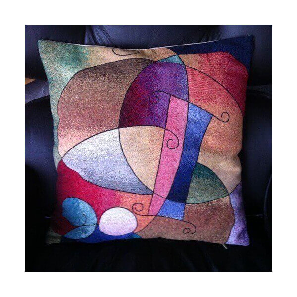 coussin brod kandinsky d coration interieur art moderne et abstrait housse pop originale. Black Bedroom Furniture Sets. Home Design Ideas