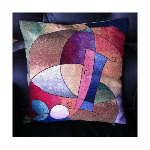 coussin brod kandinsky d coration interieur art moderne et abstrait housse pop originale. Black Bedroom Furniture Sets. Home Design Ideas