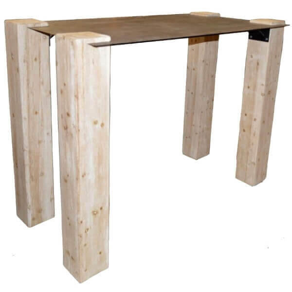 Table haute bois acier