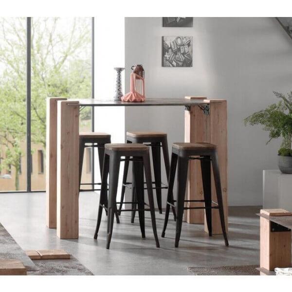 Table haute bois acier for Table haute 4 personnes