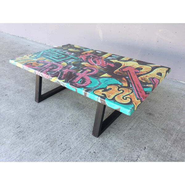 graffiti coffee table. Black Bedroom Furniture Sets. Home Design Ideas