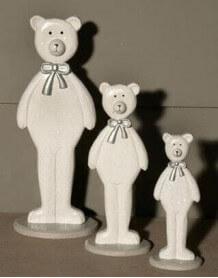 3 figurines ours en bois