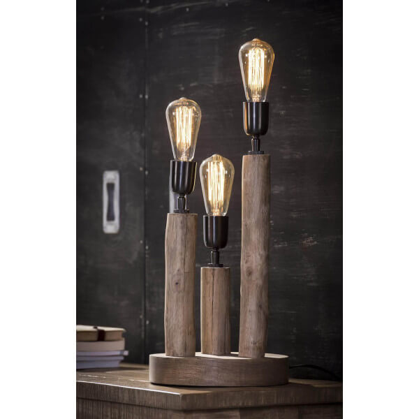 Lampe nature bois for Lampe design bois flotte
