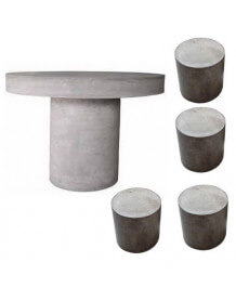 Table ronde et tabourets béton