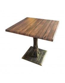 Table style Eiffel avec plateau aspect bois