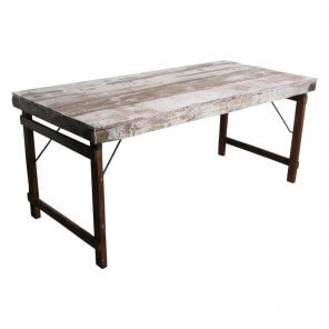 Table blanche vintage pliante