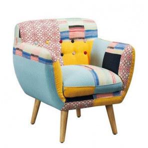fauteuil patchwork avec pieds bois lulea - Mobilier Scandinave