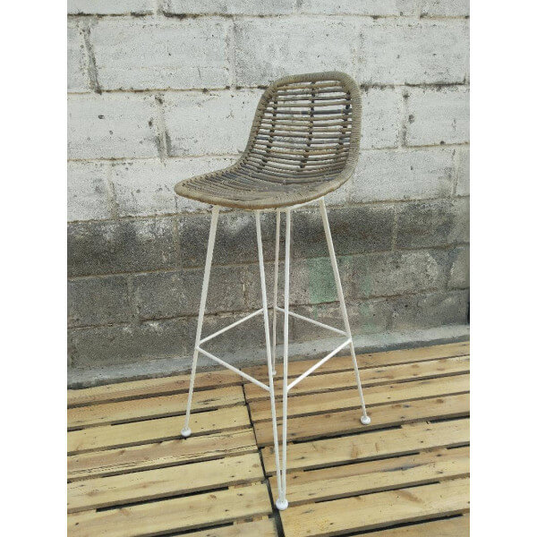White Grafik bar stool