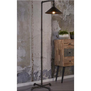 Black industrial floor lamp
