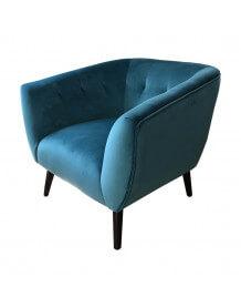 Fauteuil design velours bleu