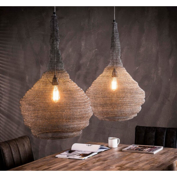 Triple iron mesh pendant lamp