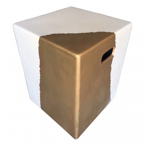 Concrete side table Gold/white