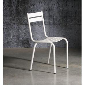 Chaise Prity en métal laqué blanc