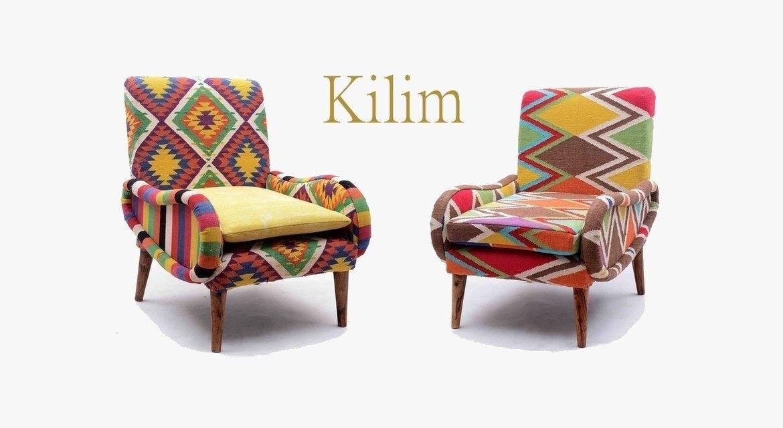 fauteuil tissu kilim motifs